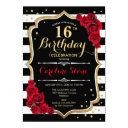 16th birthday invitation black white stripes roses