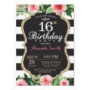16th birthday invitation women. floral gold black