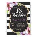 16th birthday invitation women. floral gold black