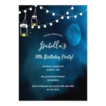 Small 16th Birthday Party Blue Moon Lights Mason Jars Invitation Postinvitations Front View