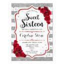 16th birthday - red silver white stripes roses invitation