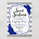 16th birthday - royal blue silver white stripes invitation