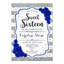 16th birthday - royal blue silver white stripes invitation