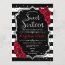 16th birthday - silver red black white stripes invitation