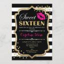 16th birthday - sweet sixteen black pink gold invitation
