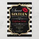 16th birthday - sweet sixteen black red gold invitation