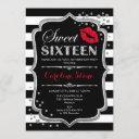 16th birthday - sweet sixteen black red silver invitation