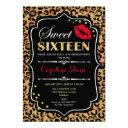 16th birthday - sweet sixteen leopard print red invitation