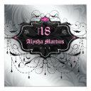 18th birthday party jewel chandelier frame silver invitation