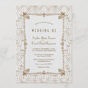 20s royal fleur-de-lis art deco gold white wedding invitation