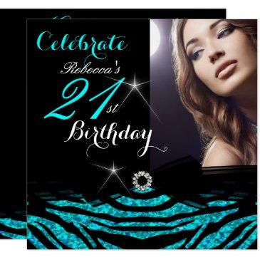 21st birthday party teal blue 21 zebra photo 4 invitation