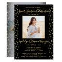 2 photo sweet 16 modern black and gold glitter invitation