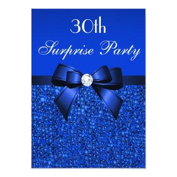 30th surprise party royal blue sequins and bow invitation