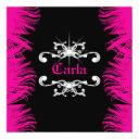 311 diamond luxe hot pink feathers invitations