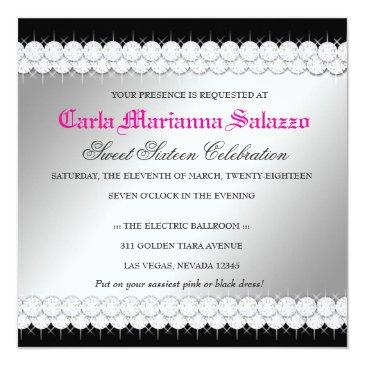 Small 311 Diamond Luxe Hot Pink Feathers Invitation Back View