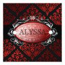 311 luxuriously red liquorice damask sweet 16 invitation