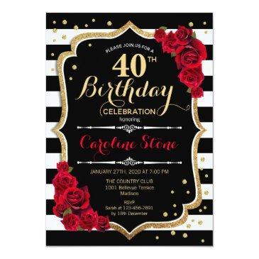 Small 40th Birthday Invitation Black White Stripes Roses Front View