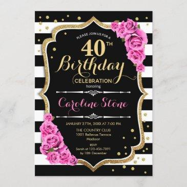 40th birthday invitation pink black white stripes