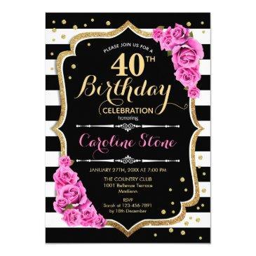 40th birthday invitation pink black white stripes