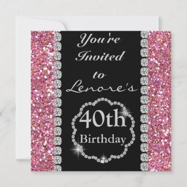 40th bling birthday party invitation pink