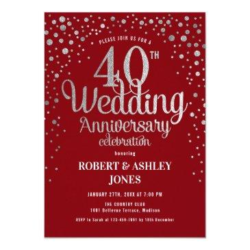 40th wedding anniversary - ruby red & silver invitation