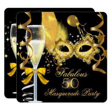 50 & fabulous gold black masquerade party