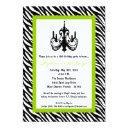 chandelier lime zebra 16th birthday invitation