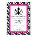 chandelier pink zebra 16th birthday invitation