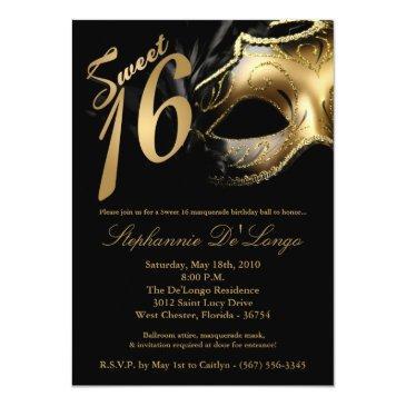 masquerade mask sweet 16 birthday invitation