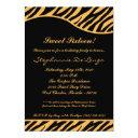 tiger print sweet 16 six birthday party invite