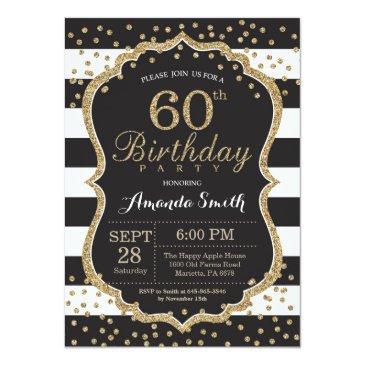 60th birthday invitations. black and gold glitter invitations