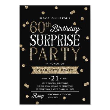 60th glitter confetti surprise party invitations
