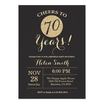 70th birthday invitation black and gold glitter