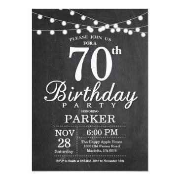 70th birthday invitations chalkboard string lights