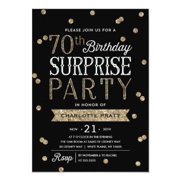 70th glitter confetti surprise party invitations