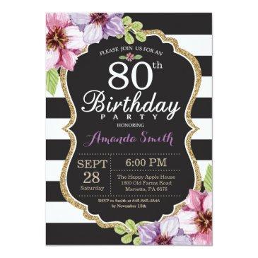 80th birthday  women. floral gold black