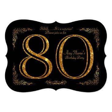 80th,birthday party 80th,great gatsby,black & gold invitation