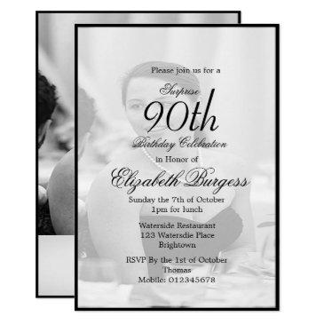 90th birthday elegant photo monogram birthday invitation