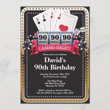 90th poker playing invitations casino birthday invitation