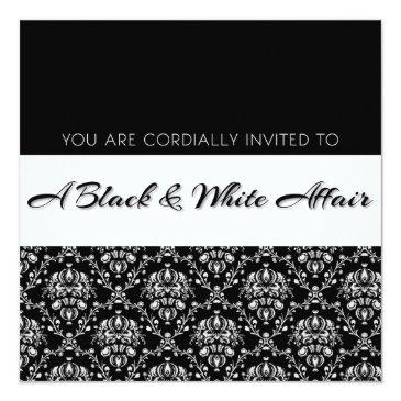 """Small """"a Black & White Affair"""" Party Invitations Front View"""