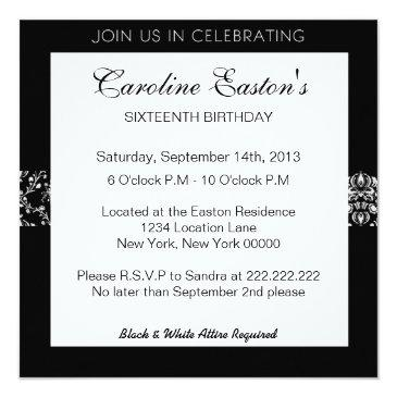 """Small """"a Black & White Affair"""" Party Invitations Back View"""