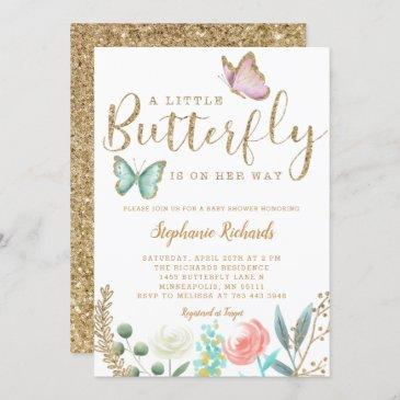 a little butterfly is on her way gold baby shower invitation