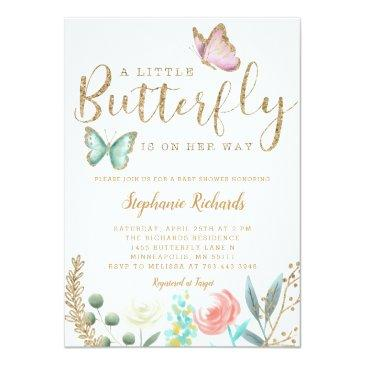 Small A Little Butterfly Is On Her Way Gold Baby Shower Invitation Front View