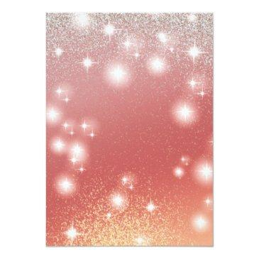 Small Adorable Dress Charming Rose Gold Glittery Ombre Invitation Back View