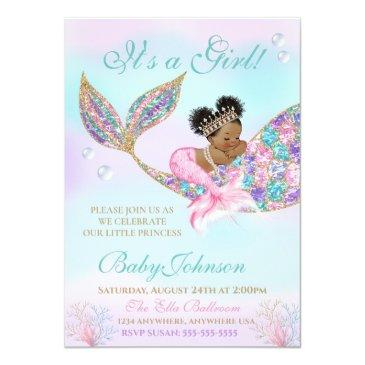Small African American Mermaid Baby Shower Glitter Tail Invitation Front View