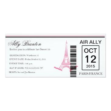 Small Airline Boarding Pass Sweet 16 Invite Front View
