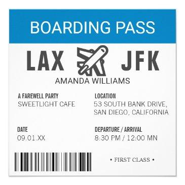 airplane boarding pass farewell party invitation