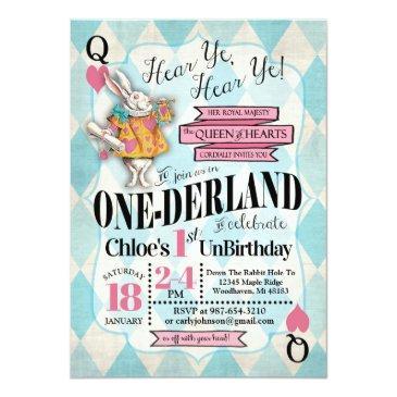 Small Alice In Wonderland 1st Birthday Invitations Front View