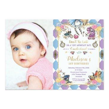 Small Alice In Wonderland 1st Birthday Onederland Photo Invitation Front View