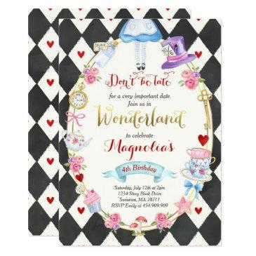 alice in wonderland birthday invitation tea party